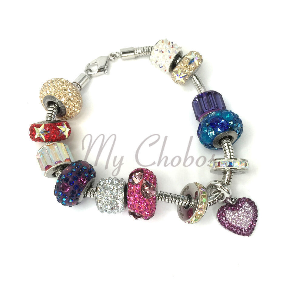 Swarovski European Fit Bracelet Charm Stainless BeCharmed Pave Spikes Crystal image 2