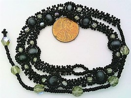 Black Cat Eye Beaded Daisy Chain Necklace - $19.00