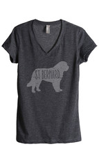 Thread Tank St Bernard Dog Silhouette Women's Relaxed V-Neck T-Shirt Tee Charcoa - $24.99+