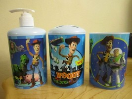 3 Pc Toy Story Bath Set - Dispenser - Toothbrush Holder - Cup - $54.52