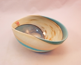 Mignon Marbled Ivory and turquoise folded bowl - $95.00