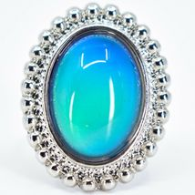 Beaded Edge Silver Tone Oval Cabochon Color Changing Adjustable Mood Ring image 5