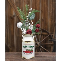 Vintage Tree Farm Country Christmas off White Milk Can Floral Holder   - $44.00