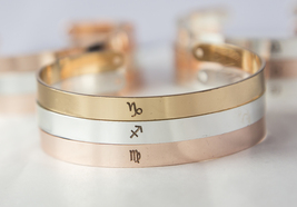 Personalized Zodiac Symbol Bracelet Horoscope Cuff Virgo Leo Gemini Aries Libra image 5