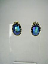 Clip-on Earrings Women Aurora Borealis Beads 1950 Vintage Blue Goldtone - $24.74