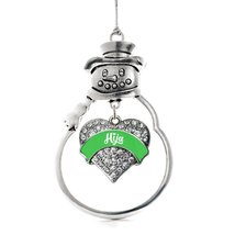 Inspired Silver Emerald Green Hija Pave Heart Snowman Holiday Ornament - $14.69