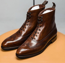 Handmade Men's Brown Wing Tip Brogues High Ankle Lace Up Leather Boots image 3