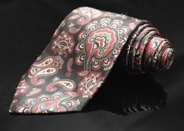 Geoffrey Beene Black Grey Silver Paisley Silk Necktie Tie Unique - $20.37