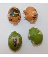 4 Vintage Tlaquepaque Painted Terracotta Clay PIGS Mexico Salt & Peppers  - $9.70