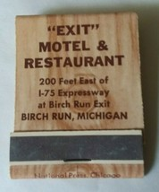 Michigan Birch Run Exit Motel & Restaurant Matchbook Electric Heat Faux ... - $6.92