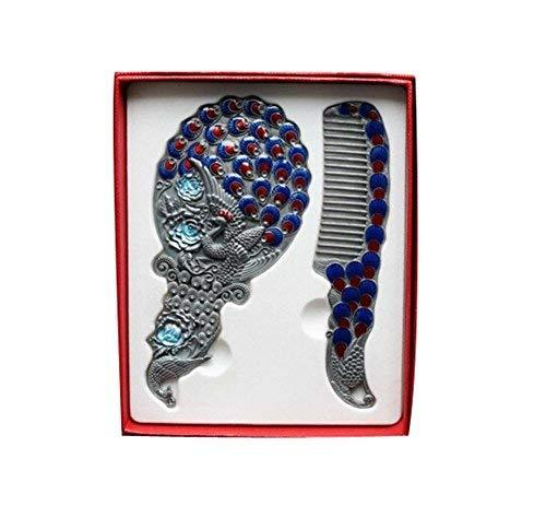 Exquisite Retro Portable Cosmetic Mirror and Comb Set, Peacock, Silver - $23.31