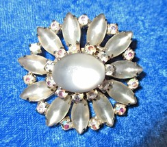 Vintage Retro Brooch/Pin Frosted Glass Cabochons & AB Rhinestones - Silv... - $11.89
