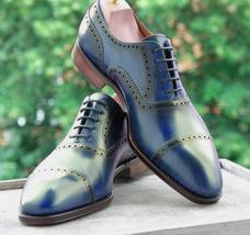 Handmade Men's Blue Dress/Formal Leather Oxford Shoes image 4