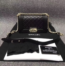NEW 100% AUTHENTIC CHANEL 2017 BLACK QUILTED CAVIAR SMALL BOY FLAP BAG GHW image 2