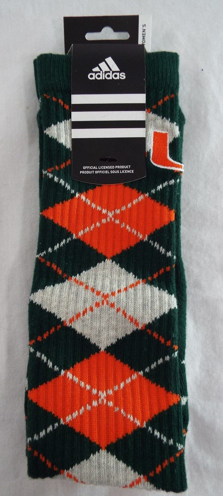 c70f749fe1d S l1600. S l1600. Previous. Adidas University of Miami Hurricanes Womens Knee  High Sport Socks Argyle