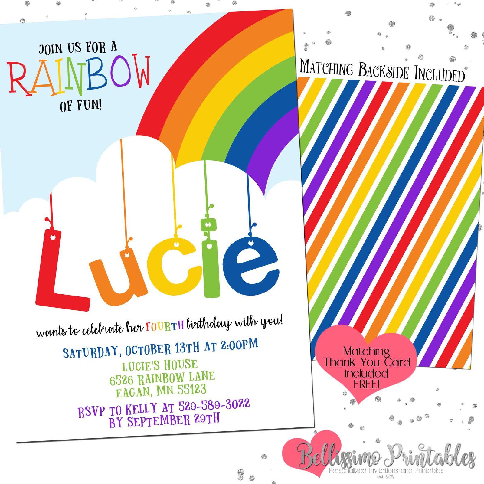 Rainbow Birthday Invitation Listing