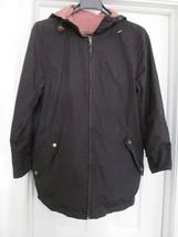 Ralph Lauren RL Jacket Coat Reversible Black Red Plaid Zip Hooded Women's S - $39.90