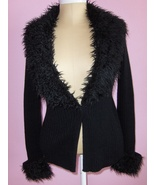 Coolwear Womens Cardigan Sweater Black with Faux Fur Trim and Front Secu... - $19.99