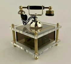 """Vintage Sankyo Clear Lucite Old Timey Telephone Music Box 4"""" Tall - Works - $19.95"""
