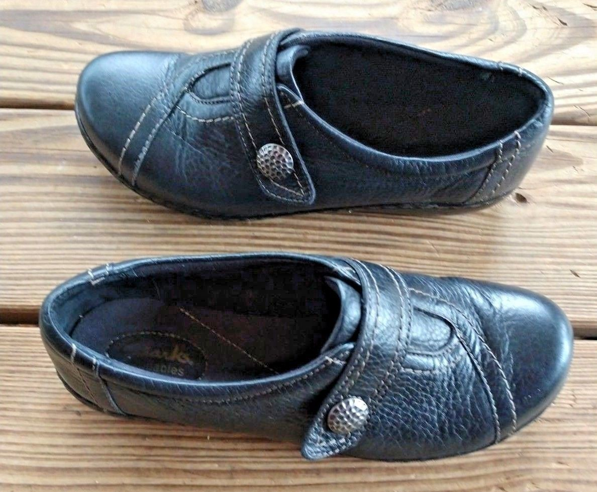 Clarks Size 9 Bendables Slip On Walking Comfort Career Clogs Black Leather Shoes image 2