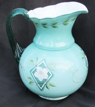 """Fenton pitcher green/aqua and white painted flower 6 3/4"""" tall - $37.50"""