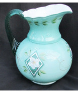"Fenton pitcher green/aqua and white painted flower 6 3/4"" tall - $37.50"