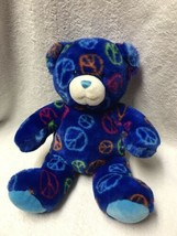 "Build A Bear Peace Sign Teddy Bear Blue Plush Signs 14"" Stuffed Animal D... - $14.84"