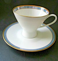 """Rosenthal Gala Blue  Footed Cup & Saucer 3"""" Tall  Loewy Mid Century Form... - $26.99"""
