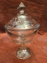 Vintage Indiana Glass Clear Starburst Pattern Pedestal Covered Candy Dish image 2