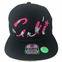 Unisex Black Pink Floral Cali Headlines Snap Back Hat Cap - $18.31
