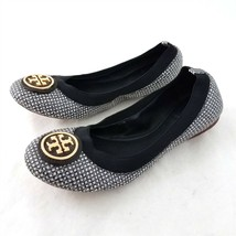 Tory Burch Gray White Black Check Ballet Flats Leather Sole Womens 6.5 M - $54.34