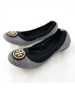 Tory Burch Gray White Black Check Ballet Flats Leather Sole Womens 6.5 M - £39.51 GBP