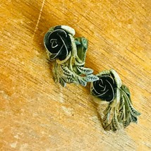 Vintage Spain Signed Small Silvertone Dimensional Rose Flower & Leaves Clip Ear - $13.99