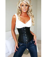 Black Leather Waist Cincher Underbust Corset UC109 - $31.99