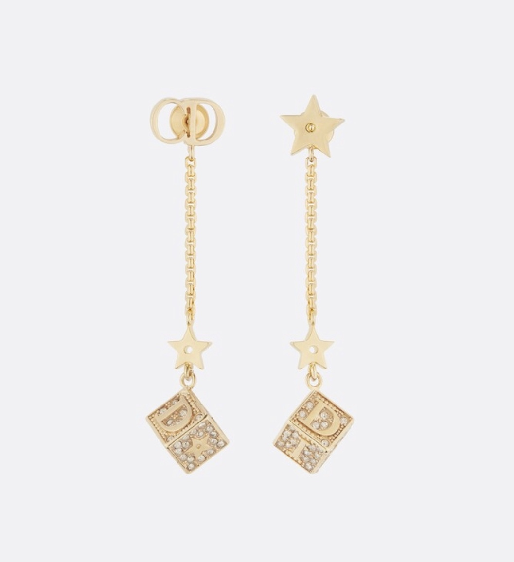 AUTH Christian Dior 2019 LUCKY SQUARE STAR EARRINGS DANGLE DROP CRYSTAL GOLD