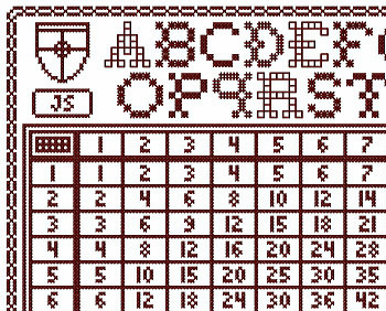 Redwork Multiplication Sampler PDF cross stitch chart John Shirley new designer