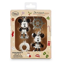 Disney Parks Store Steamboat Willie Sketchbook Minis Ornament Set  Micke... - $29.64