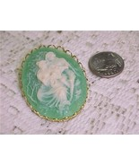 Cameo of Lovers In The Garden Brooch Pin - $7.97