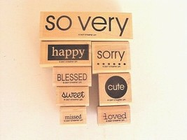 So Very Stampin Up Rubbber Stamp Set - Cute/Sorry/Happy/Blessed/Sweet/Loved - $16.39