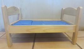 """20-1/2"""" Long Wood Doll Bed With Blue Pillow & Quilt - $49.49"""