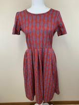 Lularoe L Red Blue Arrow Stripe Jacquard Look Vtg Amelia Dress Large - $39.99