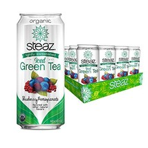 Steaz lightly sweetened Organic Iced Green Tea Blueberry Pomegranate 16 ounce ca