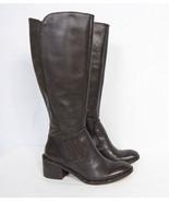 Donald J Pliner Envy Block Heel Boot Womens 8 M Dark Brown Leather Calf - $98.01
