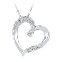 10k White Gold Womens Round Diamond Heart Love Fashion Pendant .03 Cttw - $179.00