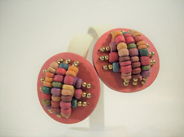 Colorful WOOD BEADS Salmon Clip Earring Gold Teal Green Red Beige Vintage - $16.82