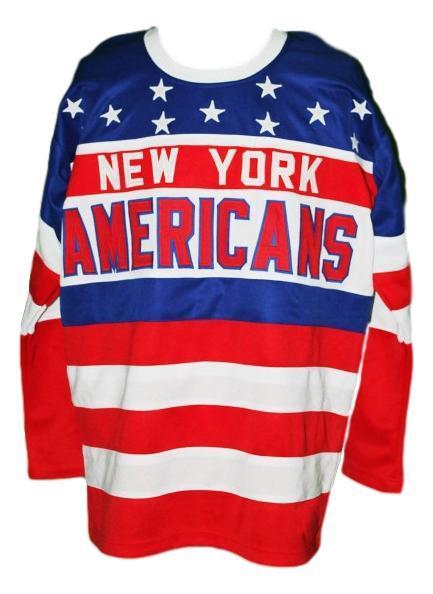 Rey  100 custom new york americans retro hockey jersey   1