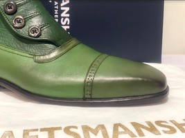 Handmade Men's Green Leather High Ankle Buttons Boot image 8
