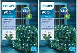 Lot of 2 Philips 90ct 4' x 4' Christmas LED Net String Lights Cool White Bushes