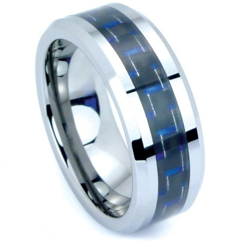 Primary image for Tungsten carbide ring with blue carbon fiber inlay size 6.5
