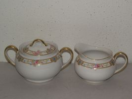 Vtg Noritake Carmen pink blue floral gold trim cream pitcher & sugar bowl set ~C - $20.00